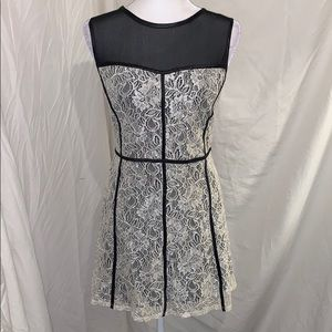 Forever 21 Black Lining Cream Lace Dress Sheer Top